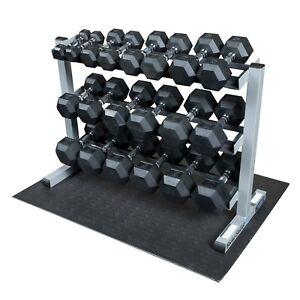 5-50 lb Rubber Dumbbells with Body-Solid rack, Floor Mat GDR363-QSET - Hexagonal