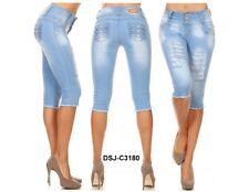 NEw Diva star colombian 3180 blue  levanta cola high waist capris shorts-1-15