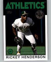 2021 Topps Series 1 RICKEY HENDERSON 1986 Topps Insert Athletics #86B-80