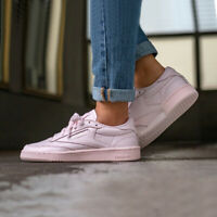 Reebok Men's Club C 85 ELM Fashion Trainers in Soft Pastel Pink Leather Sneakers