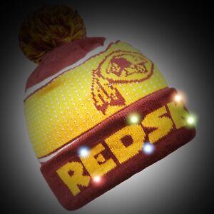 Washington Redskins Big Logo Light Up Beanie Winter Hat Toque Cuffed Pom 18 Knit