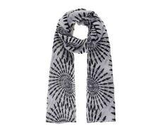 Grand Foulard/Scarf Femme/Woman imprimé spirales Noir et Blanc