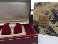 Rolex Date-Just 18k Rose Gold Ladies Watch w/ Diamonds & Box