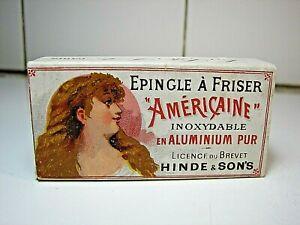Rare French Ad Card Box Hair Pin AMERICAINE 1900 Art Nouveau Hair Dresser No Tin