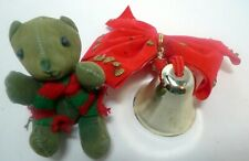 Lot Vintage Christmas Decorations Red Felt Bow Brass Bell Green Jointed Teddy