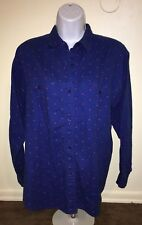 Vintage Gap Blue Shirt Button Down Long Sleeve Red Dots Women Medium Cotton