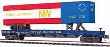 MTH Electric Trains Flatcar w/48' Trailer - 3-Rail - Ready to Run - Premier MTH