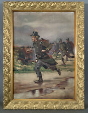 1916 Antique Wwi Era Trench Art Old Battlefield Scene Soldier & Bayonet Painting