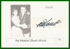 Pat Montini Afrique du sud carte PHOTO Rugby autographe