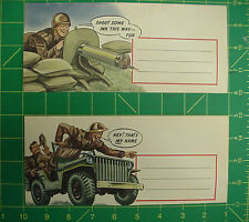 US Army Comedic Envelopes, Great color after more than 70 years # 10 size