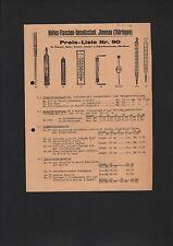 ILMENAU, Preisliste 1935, Helios-Flaschen-Gesellschaft Thermometer