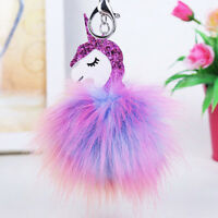 Lovely Unicorn Horse Keychain Keyring Handbag Key Ring PomPom Bag Charm Pendant
