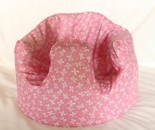 *NEW DESIGN'  Bumbo 100% Cotton Seat Cover with Harness Slots 'Pink Bows'