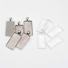 5 Sets Antique Silver Rectangle Alloy Pendant Cabochon Settings Glass Cabochons