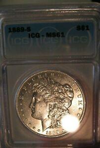 1889 S Morgan Silver dollar  ICG MS 61 RARE, Undergraded??  3460