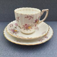 NEW CHELSEA TRIO SET CUP SAUCER PLATE PINK FLORAL FLUTED GILDED FINE BONE CHINA