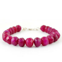 TOP GRADE 269.35 CTS EARTH MINED RICH RED RUBY ROUND FACETED BEADS BRACELET (RS)