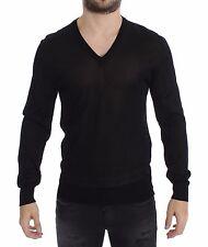 DOLCE & GABBANA D&G Black V-neck Rayon Sweater Pullover IT46 / US36 / S