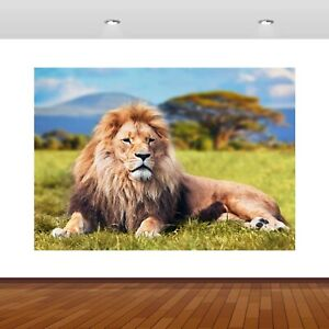 Lion Jungle King Animals Zoo 3D Smashed Wall Sticker Poster Vinyl Mural S623