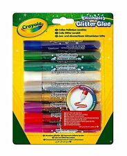 CRAYOLA 9pc Assorted Colours Washable GLITTER GLUE Pen Tubes Art Crafts Projects