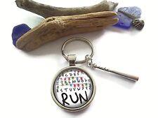 """"""" RUN """" Stranger Things themed 25mm Glass Dome keyring novelty fandom gift UK"""
