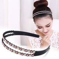 Women's Crystal Hairband Headband Flower Rhinestone Hair Bands Hoop Accessories