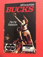 1978-79 Milwaukee Bucks NBA Basketball Pocket Schedule Original