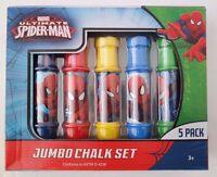 Marvel Ultimate Spider-Man Boy's Kids Girls Jumbo 5 Pack Chalk Set NWB