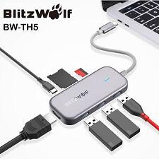 BlitzWolf 7 in 1 USB C 3 Port USB 3.0 TF SD Card Reader 4K Data Charging Hub
