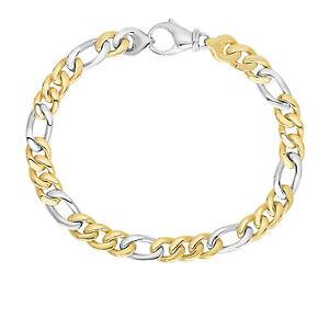Men's 6mm 14k Yellow & White Gold Figaro Chain Link Chain Bracelet Soft Faceted