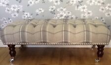 A Quality Long Deep Button Footstool In Laura Ashley Highland Steel Wool Fabric