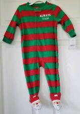 NEW Infants 12M Carter's Red & Green Striped One Piece Fleece Christmas Sleeper