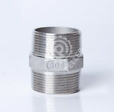 """304 Stainless Steel Hex Nipple, Male x Male NPT Thread, 3/8"""" Pipe Fitting"""