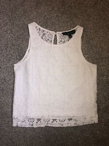 Topshop White Lace Top Sheer Back Size 6 Petite Spring Summer Holiday Cropped