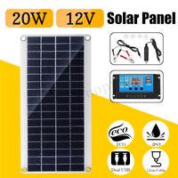 20W 12V/5V Dual USB DC Battery Solar Panel+Controller Kit Set Phone RV Car Boat