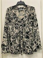 Susan Graver Liquid Knit Cream & Black Floral Print Scoop Neck Top M