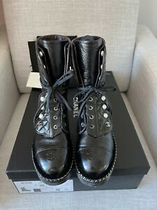 Authentic CHANEL -SOLD OUT- 18K Pearl Combat Boots size 38