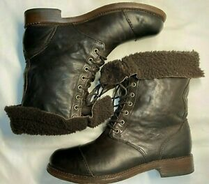 TIMBERLAND 25687M Shearling Fold Over Brown Leather Lace Boots Women's Size 7 M