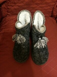 MukLuks Pewter Cozy Winter Sweater Slippers Boots Large
