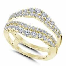 Yellow Gold Women Enhancer Wrap Wedding Band 1.25 Ct Round Cut Vvs1 Diamond 14K