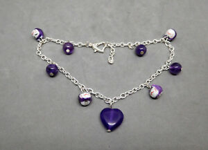 ANKLET, MANEKI NEKO & AMETHYST BEADS, SILVERTONE CABLE CHAIN ADJUSTABLE - 7975