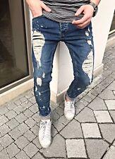 Herren Jeans Hose Denim Slim Fit Skinny Zerrissen Destroyed Style Verwaschen Neu