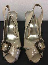 Ladies Nude Sling back Peep Toe shoes size 4.5 in excellent condition