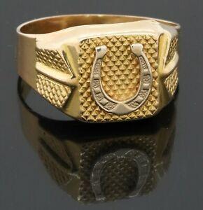 MCDZ Italian designer heavy 18K YG lucky horseshoe cocktail ring size 9.75