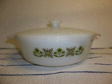Fire King Anchor Hocking Casserole #437 1 1/2 qt. Green Meadow Flowers With Lid