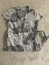 Regatta Petite Size 16  100% Cotton Brown Floral Blouse Crossover Front.