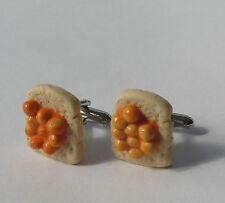Handmade Novelty Fimo Beans on Toast Charm Cufflinks - Gift Idea For Your Man
