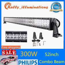 52Inch 300W Philips LED Light Bar Flood Spot Offroad Jeep 4X4WD ATV Screw 12V24V