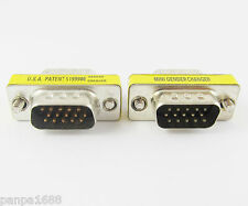 50pcs VGA HD15 Converter 15pin 3 row Male to Male Mini Gender Changer UK