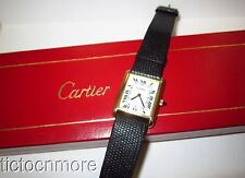 VINTAGE CARTIER TANK 17j MANUAL WIND WATCH GOLD PLATE ORIGINAL BAND & BOX